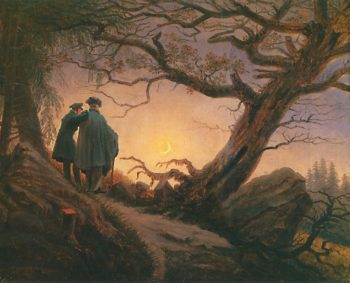 Two Men Contemplating the Moon V2 (1820) | Caspar David Friedrich | oil painting