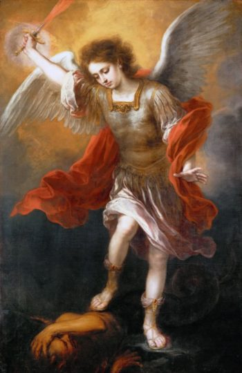 Archangel Michael Hurls the Devil into the Abyss | Bartolome Esteban Murillo | oil painting
