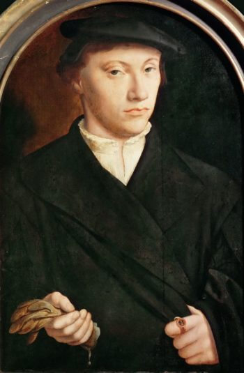 Portrait of a Young Man with Gloves | Bartholomaeus Bruyn the Elder | oil painting