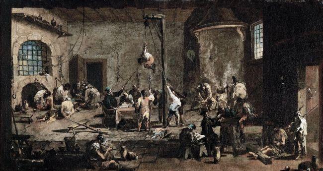 Interrogations in Jail   Alessandro Magnasco   oil painting
