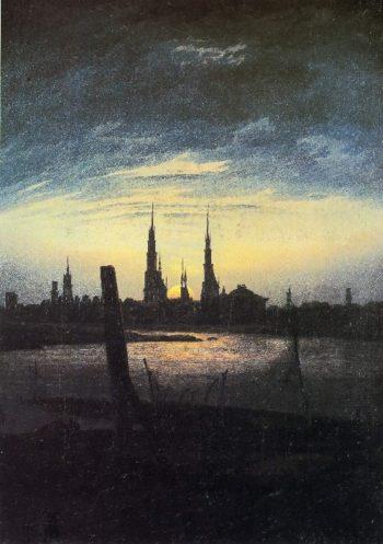 Stadt bei Mondaufgang (Stadt am Wasser bei untergehender Sonne) (1817) | Caspar David Friedrich | oil painting