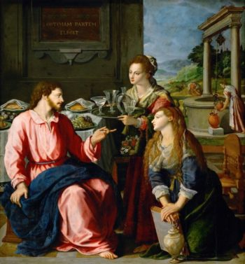Christ with Mary and Martha | Alessandro Allori | oil painting