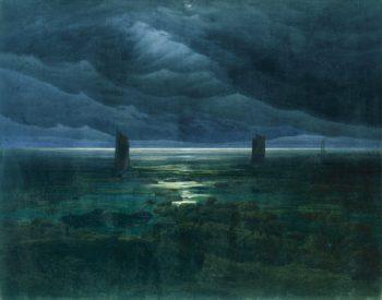 Seashore by Moonlight (1835) | Caspar David Friedrich | oil painting