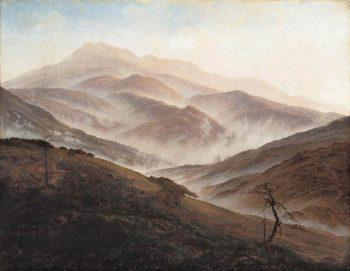 Riesengebirge Landscape with Rising Fog (1819-20) | Caspar David Friedrich | oil painting