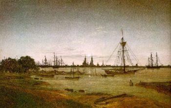 Port by Moonlight (1811) | Caspar David Friedrich | oil painting
