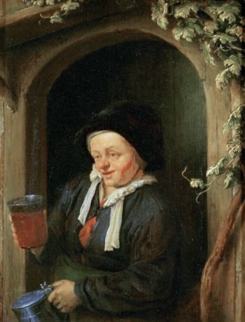 Woman at the Window with Jug and Beer Glass | Adriaen van Ostade | oil painting