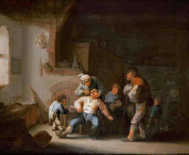 The Village Barber -Dentist Extracts a Tooth | Adriaen van Ostade | oil painting