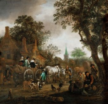 Coach in Front of a Village Pub | Adriaen van Ostade | oil painting