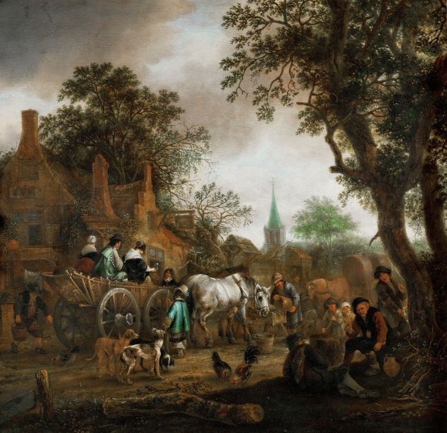 Coach in Front of a Village Pub | Adriaen van Ostade | oil painting