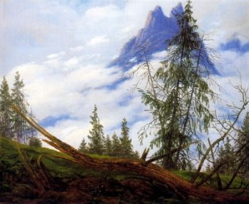 Mountain Peak with Drifting Clouds (1822) | Caspar David Friedrich | oil painting
