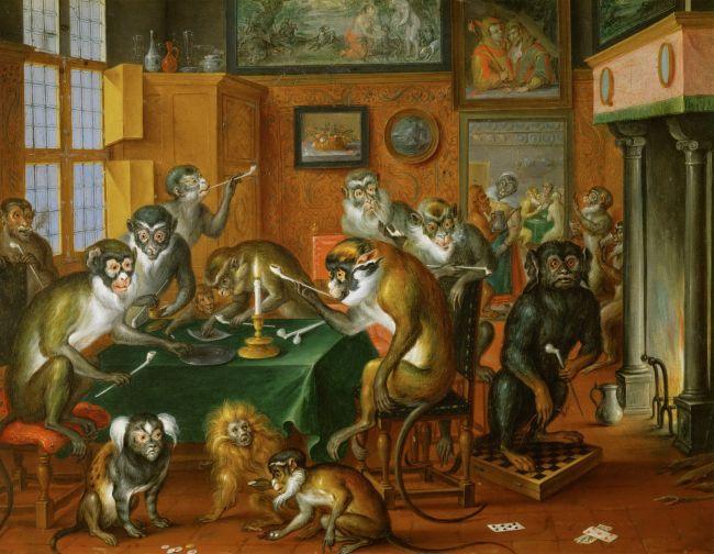 Tobacco Collegium of the Apes   Abraham Teniers   oil painting
