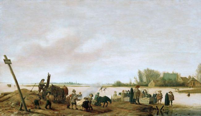 Winter Landscape on the Shore   Salomon van Ruysdael   oil painting