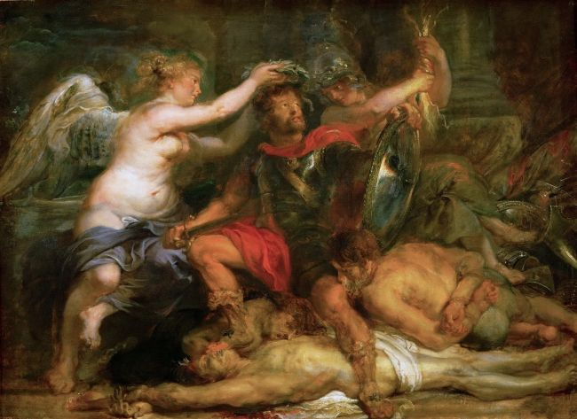 A hero being crowned by Nike circa 1630-1640 | Peter Paul Rubens | oil painting