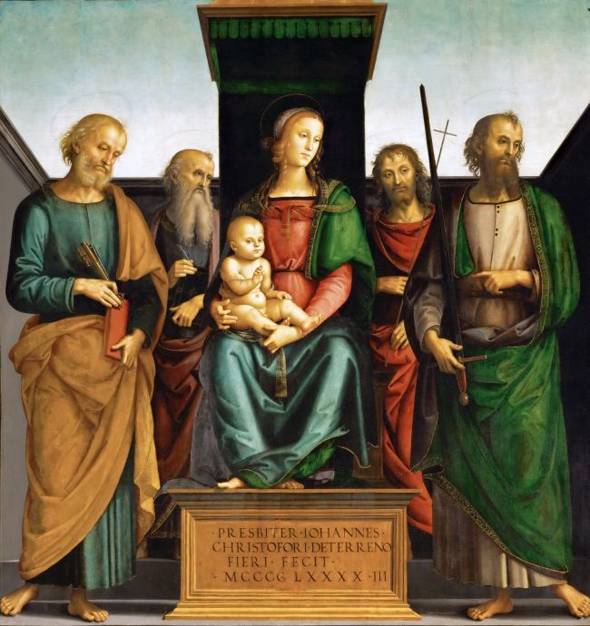 Madonna and Child with Saints Peter and Paul   Perugino   oil painting