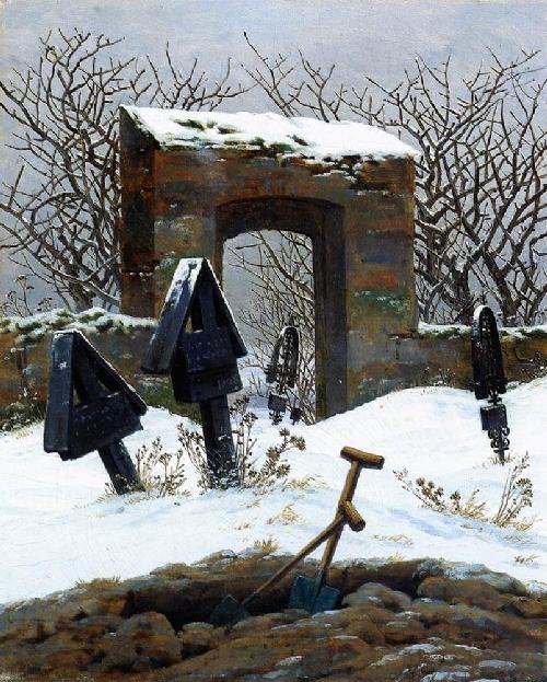Graveyard under Snow (1826) | Caspar David Friedrich | oil painting