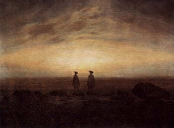 Two men in sea at dusk (1817) | Caspar David Friedrich | oil painting