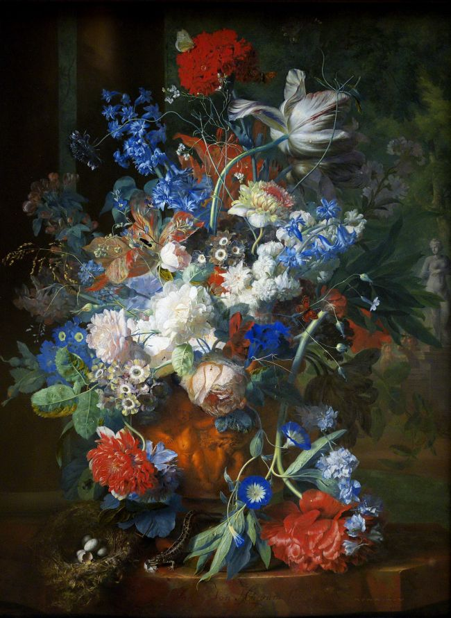 Bouquet and park landscape 1725 | Jan van Huysum | oil painting