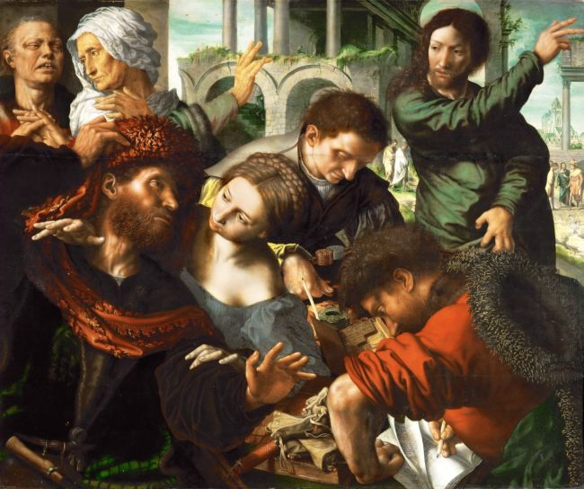 Saint Matthew Called to Join the Apostles -Calling of Matthew   Jan van Hemessen   oil painting