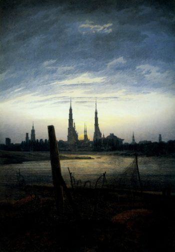 City at moonrise (1817) | Caspar David Friedrich | oil painting
