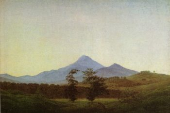 Bohmische landscape mountain landscape the two trees (1810) | Caspar David Friedrich | oil painting