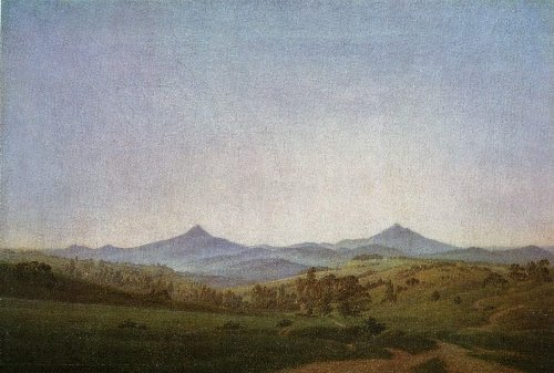 Bohemian Landscape with Mount Milleschauer (1808) | Caspar David Friedrich | oil painting