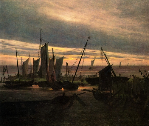 Boats in the Harbour at Evening (1828) | Caspar David Friedrich | oil painting