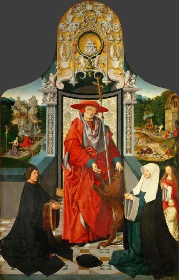 Saint Jerome Altarpiece detail central panel Saint Jerome and the Lion with Donors | Jacob Cornelisz van Oostsanen | oil painting