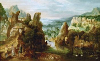 Landscape with the Apostles on the Road to Emmaus | Herri met de Bles | oil painting
