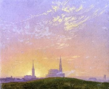Abend (also known as Sonnenuntergang Hinter der Dresdener Hofkirche) (1824) | Caspar David Friedrich | oil painting