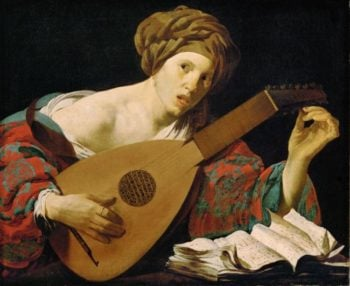 Young Woman Tuning a Lute | Hendrick ter Brugghen | oil painting