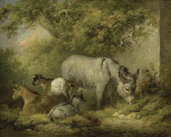 Farmyard Scene A Donkey and Goats | George Morland | oil painting