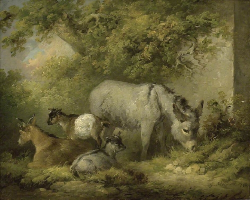 Farmyard Scene A Donkey and Goats   George Morland   oil painting