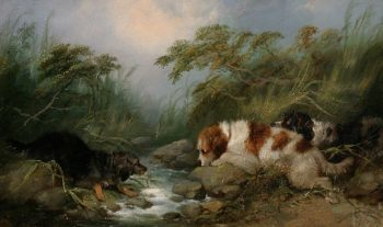 Three Dogs by a Brook | George Armfield | oil painting