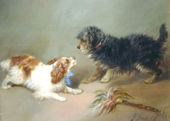 King Charles Spaniel and Terrier | George Armfield | oil painting