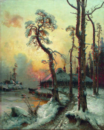 Winter landscape with river and buildings   Julius Klever   oil painting