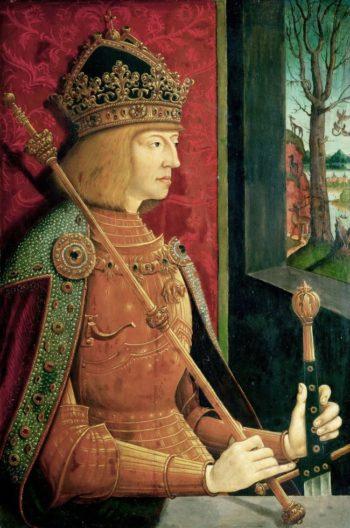 Portrait of Maximilian I half-length in golden armor | Bernhard Strigel | oil painting