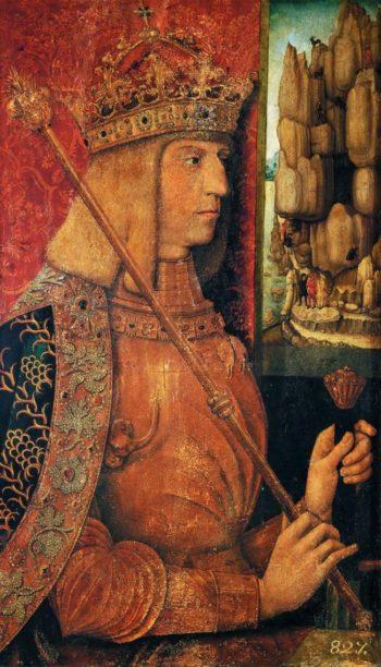 Emperor Maximilian I half length with scepter   Bernhard Strigel   oil painting