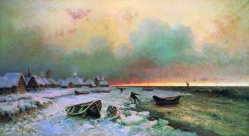 Village on the island Nargen | Julius Klever | oil painting