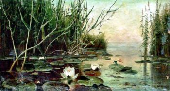 Lake with water lilies | Julius Klever | oil painting