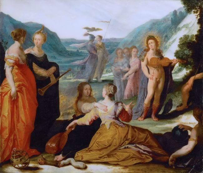 Apollo and the Muses   Bartholomaeus Spranger   oil painting