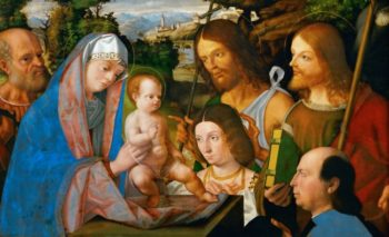 Holy Family with Saint James and John the Baptist and Two | Andrea Previtali | oil painting