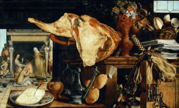 Vanitas Still-life In the background Jesus with Saint Mary Magdalen und Saint Martha | AertsenPieter | oil painting