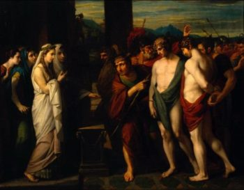 Pylades and Orestes Brought as Victims before Iphigenia | Benjamin West | oil painting