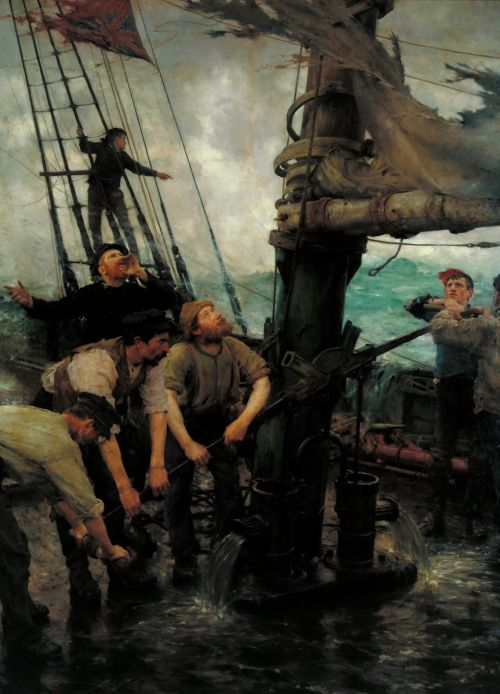 All Hands to the Pumps | Henry Scott Tuke | oil painting