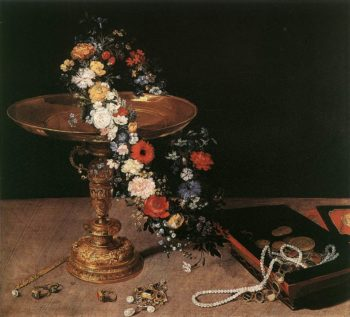 Still Life with a wreath and gold vase | Jan Brueghel The Elder | oil painting