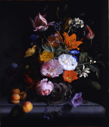 Bouquet of flowers and a branch of peaches in a vase | Jacob van Walscapelle | oil painting