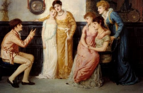A Youth Relating Tales to Ladies | Simeon Solomon | oil painting