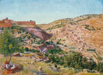 Jerusalem and the Valley of Jehoshaphat from the Hill of Evil Counsel | Thomas Seddon | oil painting