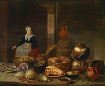 kitchen interior with a maid | Floris Gerritsz van Schooten | oil painting