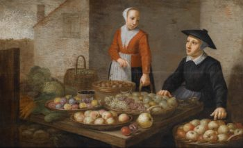 The scene on the market with two vendor of vegetables and fruits | Floris Gerritsz van Schooten | oil painting